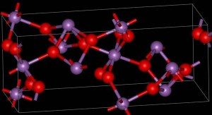 Modular diagram showing the structure of the mineral, cervantite, with the oxygen atoms shown in red.