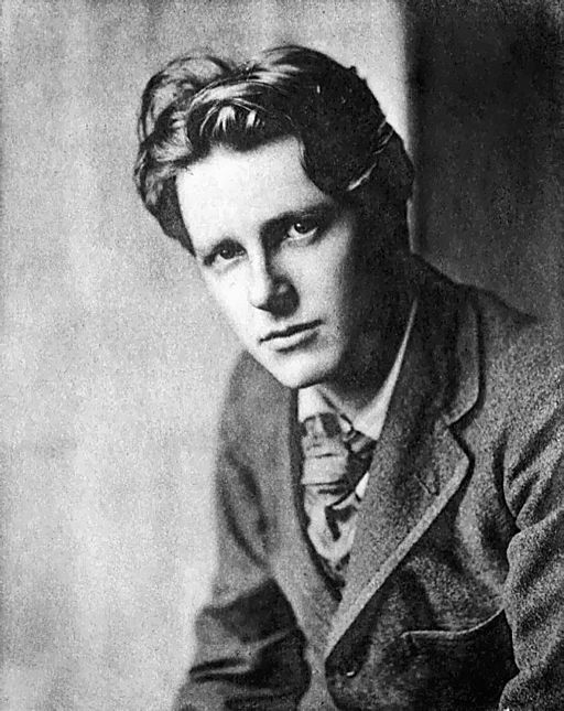 black and white image of Rupert Brooke