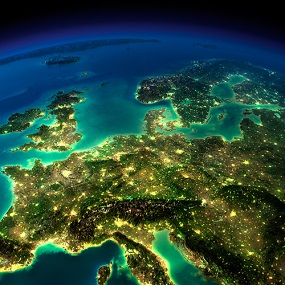 European Geography seen from space, population clusters