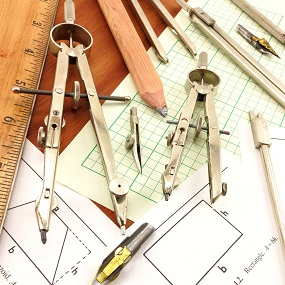 Maths equiptment including rulers, protactors and compasses